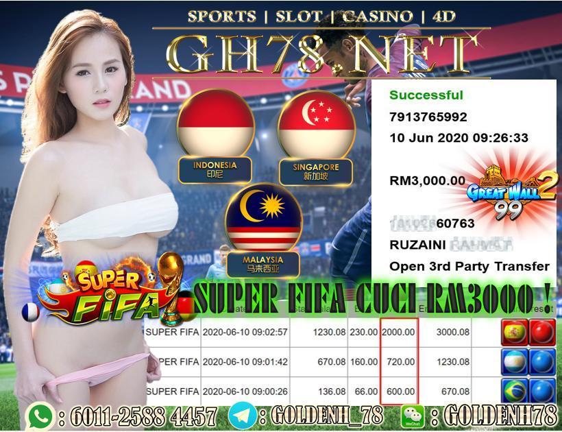 MEMBER MAIN SUPER FIFA , SERVER GW99 , MENANG BESAR, MINTA CUCI RM3000