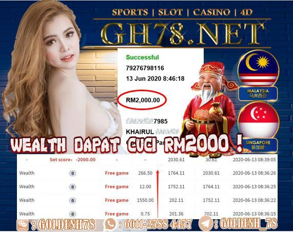 918KISS , WEALTH MASUK FREE GAME TERUS MINTA CUCI RM2000