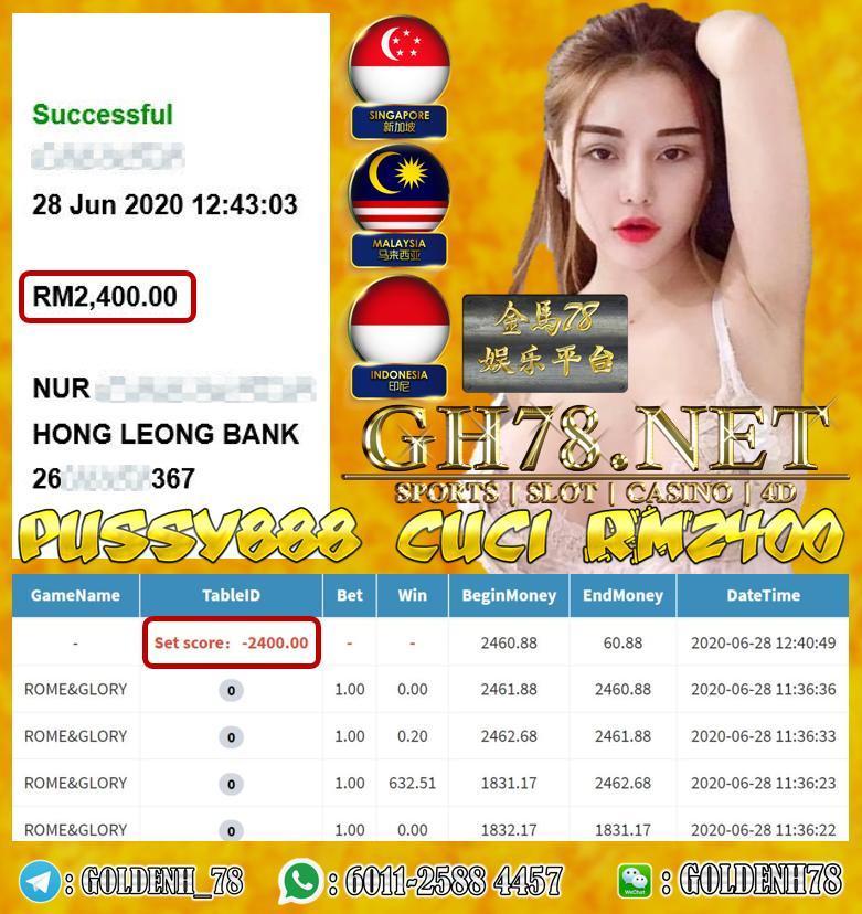 CUSTOMER MAIN PUSSY888 DAPAT CUCI RM2400 !!