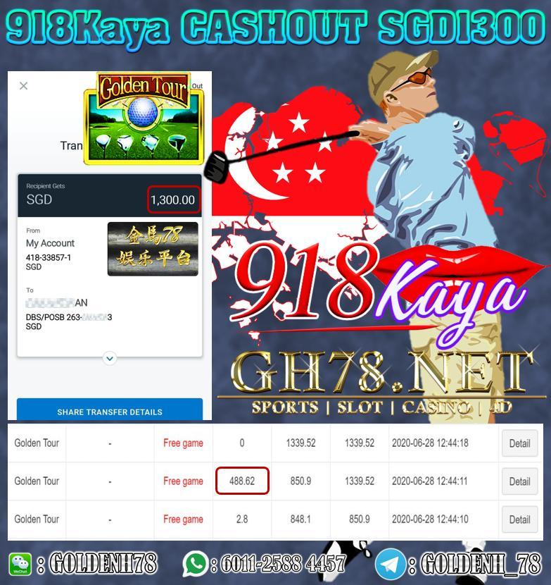 SG MEMBER WITHDRAW SGD1300 IN 918KAYA