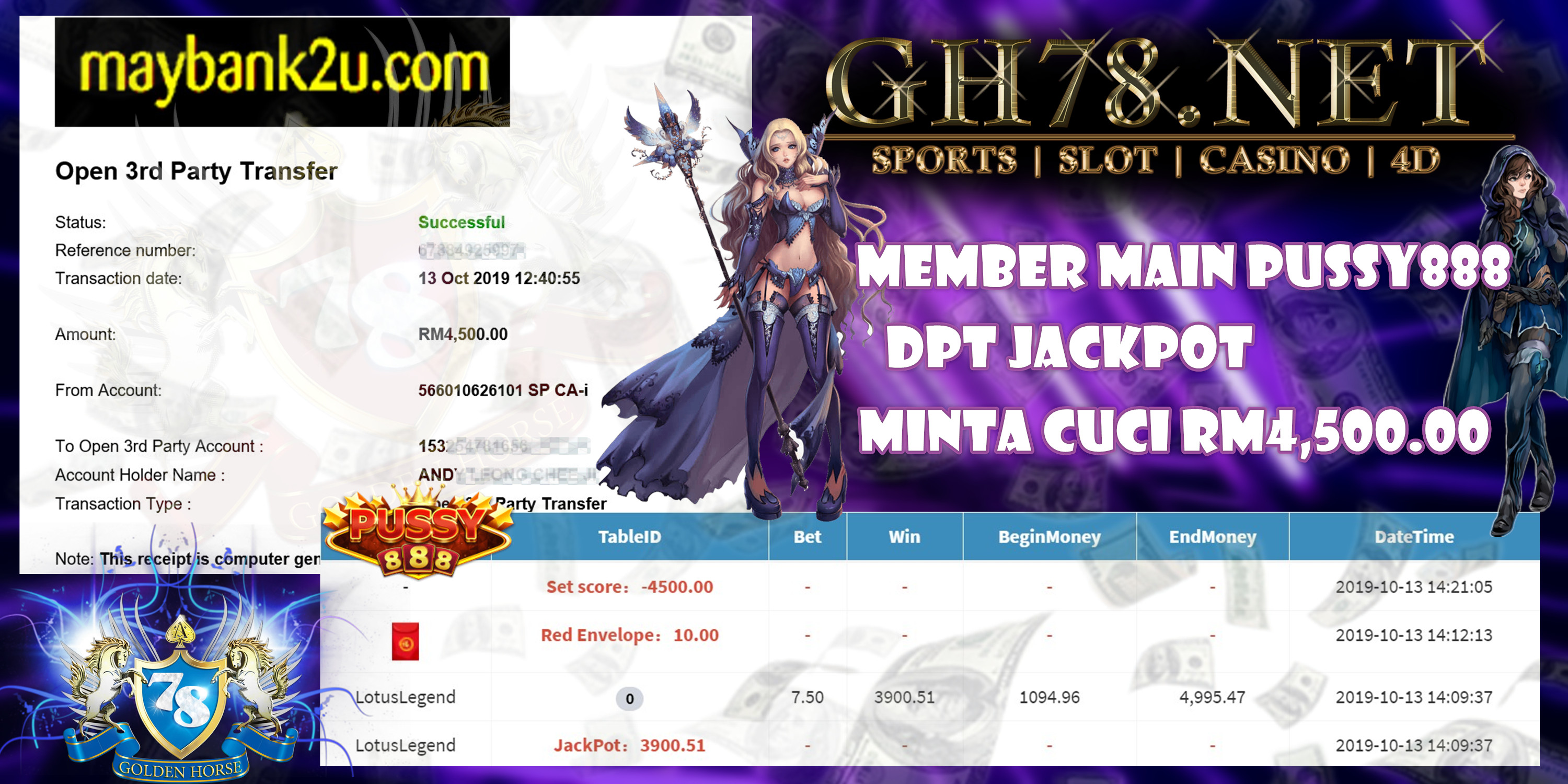 MEMBER MAIN GAME PUSSY888 MINTA OUT RM4,500