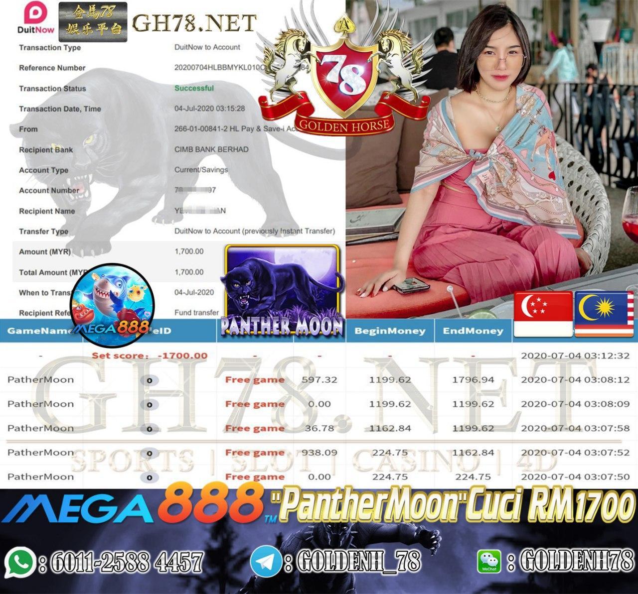 MEGA888 MEMBER MAIN PANTHERMOON CUCI RM1700
