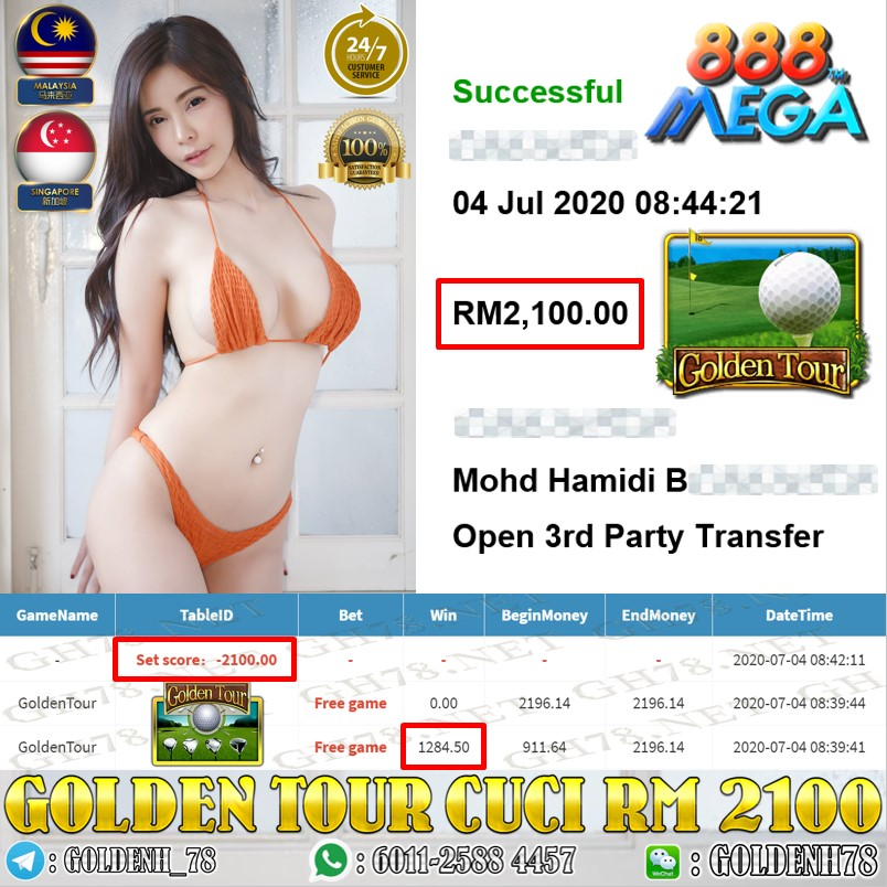 MEGA888 GOLDENTOUR CUCI RM2100