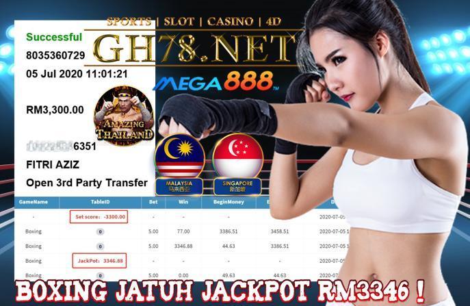 MEGA888 , MAIN GAME BOXING , JATUH JACKPOT RM3346