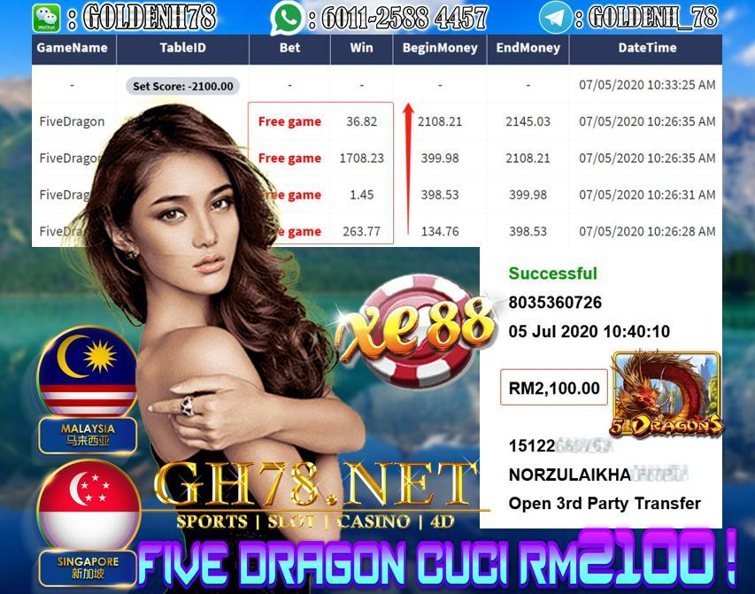 SERVER XE88 , MEMBER MAIN FIVE DRAGON , KENA FREE GAME TERUS CUCI RM2100 !