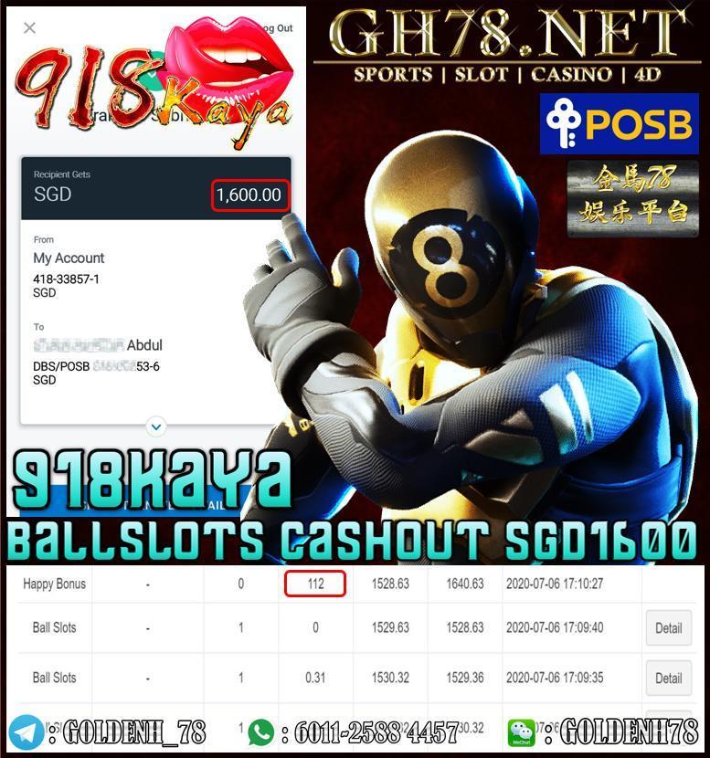918KAYA BALL SLOTS CASHOUT SGD1600
