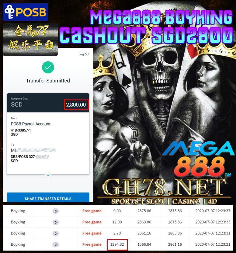 MEMBER PLAY MEGA888 SG CASHOUT SGD2800