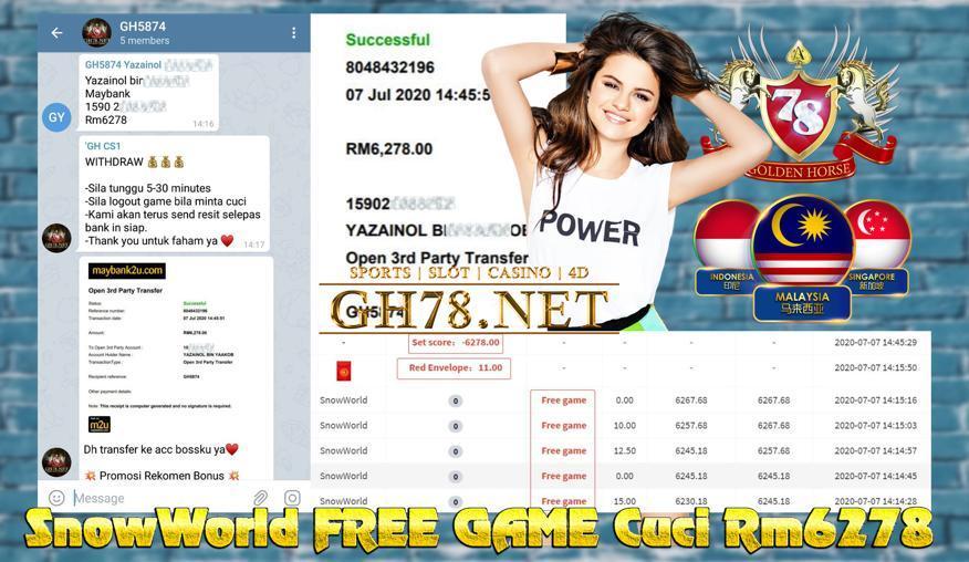 SERVER MEGA888 , SNOW WORLD DAPAT FREE GAME & DAPAT CUCI RM6278