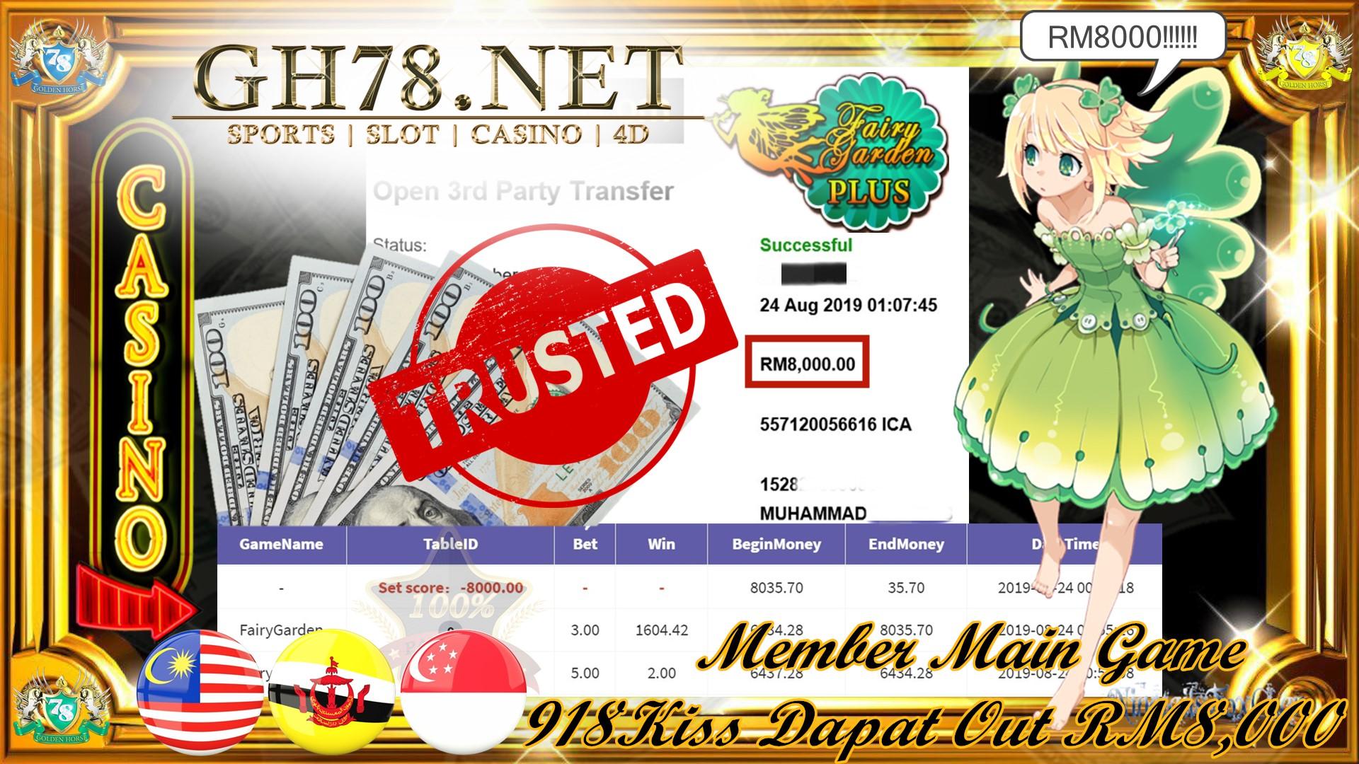 MEMBER MAIN GAME 918KISS FT.FAIRY GARDEN MINTA OUT RM8,000
