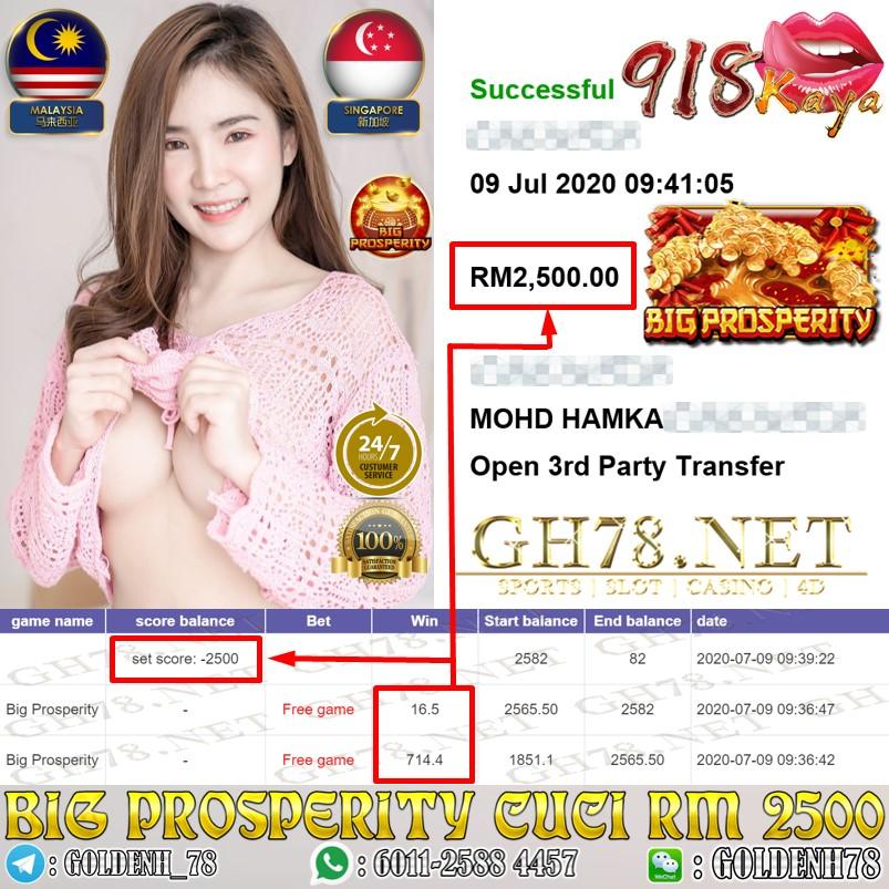 918KAYA BIG PROSPERITY  DAPAT FREE GAME CUCI RM 2500