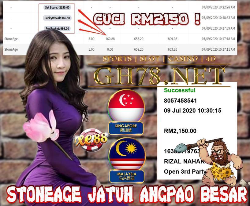 XE88 , STONEAGE JATUH ANGPAO BESAR ! CUCI RM2150