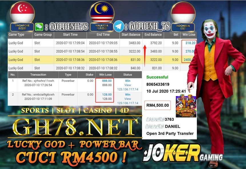 SERVER JOKER , LUCK GOD BIG WIN + POWER BAR , CUCI RM4500