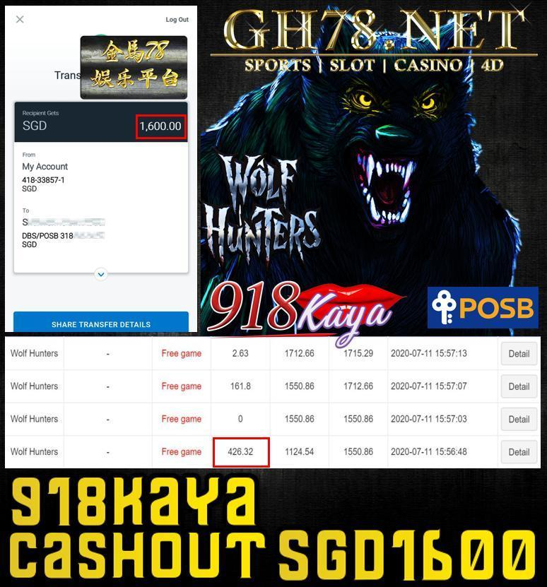 918KAYA WOLFHUNTERS CASHOUT SGD1600