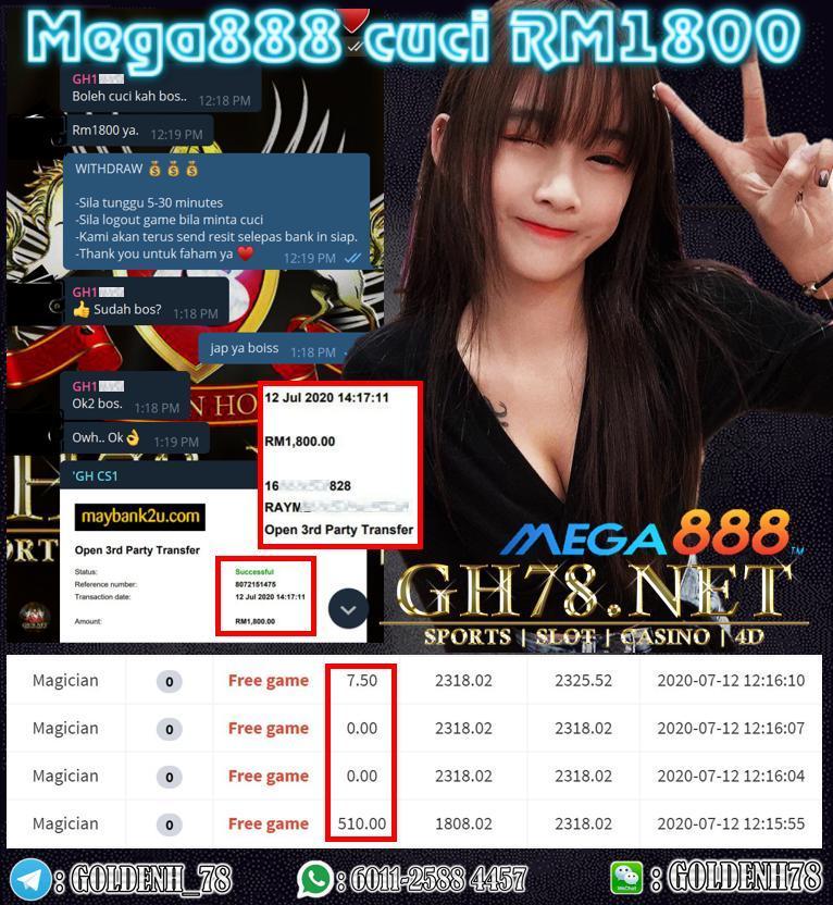 MEMBER MAIN MEGA888 MAGICIAN CUCI RM1800