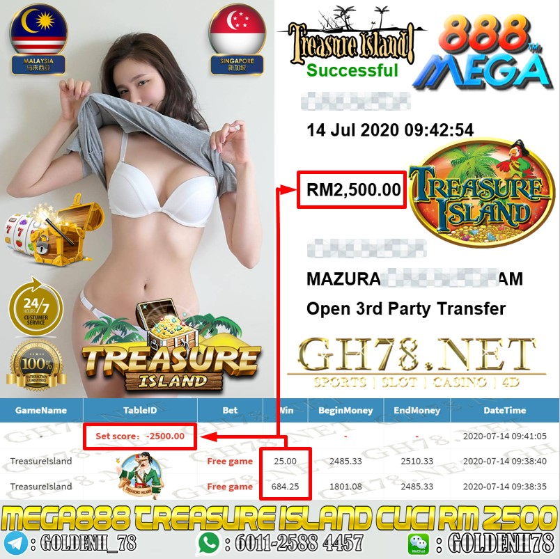 MEGA888 MEMBER MAIN TREASURE ISLAND OUT RM2500