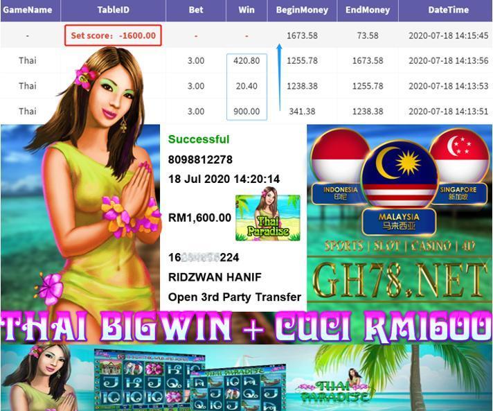 918KISS , SLOT THAI BIG WIN ! , CUCI RM1600