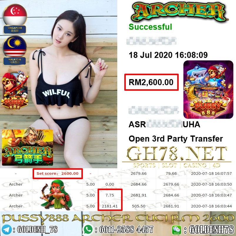 PUSSY888 MEMBER MAIN ARCHER CUCI RM2600