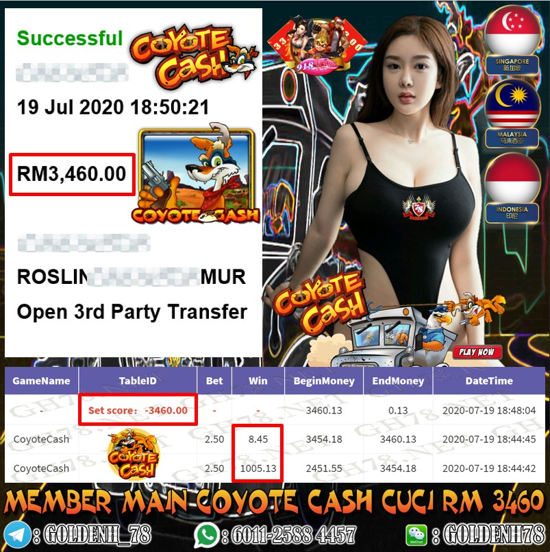 918KISS MEMBER MAIN COYOTE CASH OUT RM3460