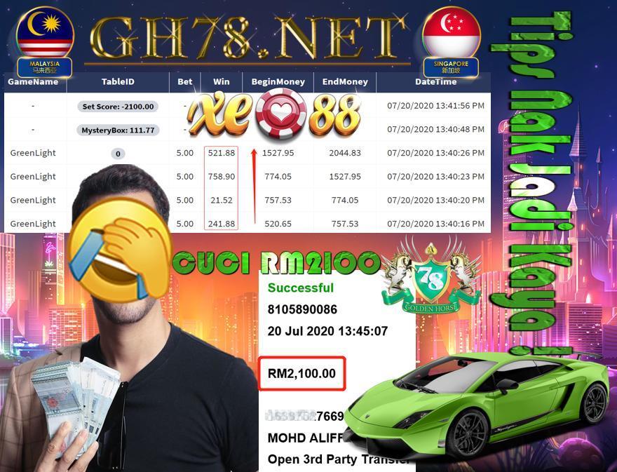 SERVER XE88 , GREEN LIGHT + BIGWIN , MINTA CUCI RM2100