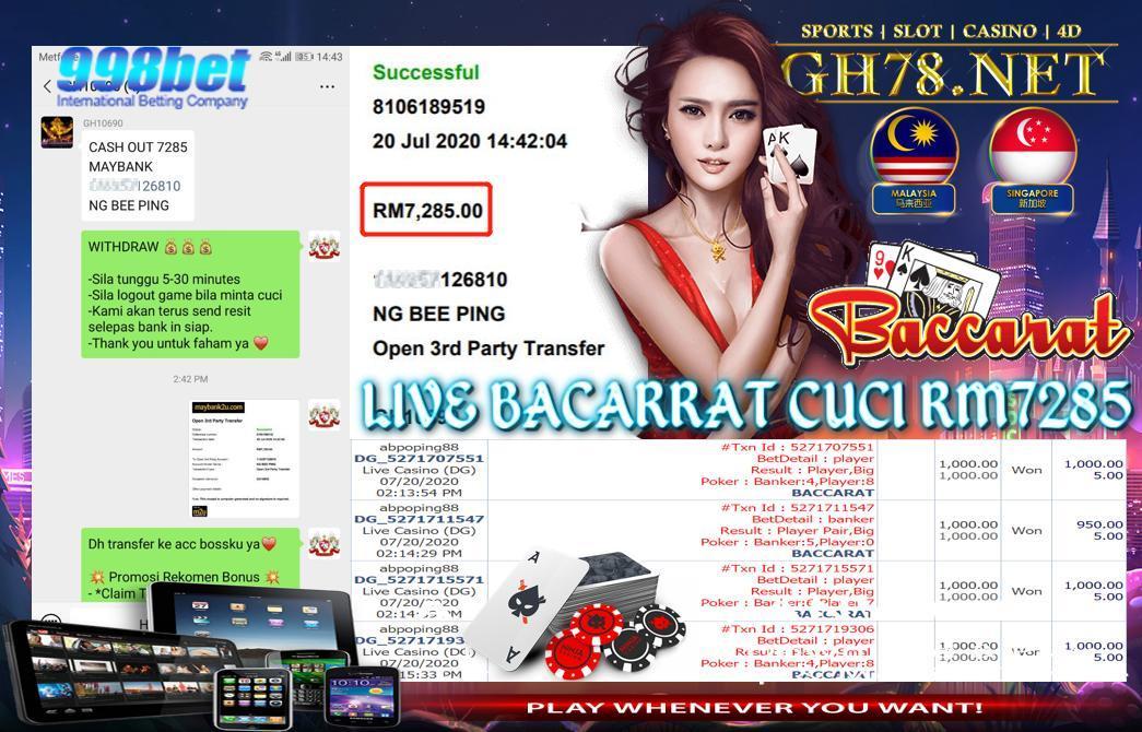 998BET , LIVE BACCARAT CASINO , MEMBER DAPAT CUCI RM7285