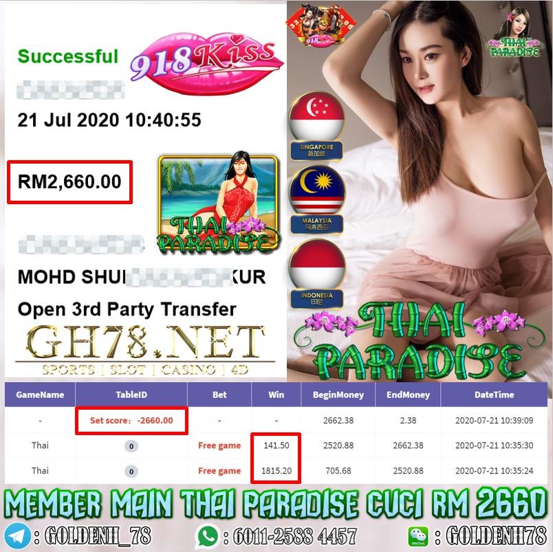 918KISS FREE GAME MEMBER MAIN THAI PARADISE CUCI RM2660