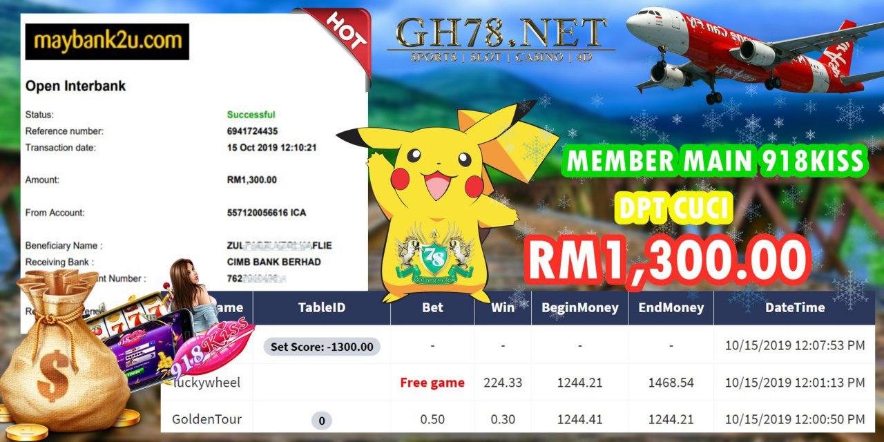 MEMBER MAIN 918KISS DPT CUCI RM1300!!!