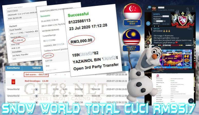 SERVER MEGA888 , MAIN GAME SNOW WORLD , TOTAL CUCI RM9517 !