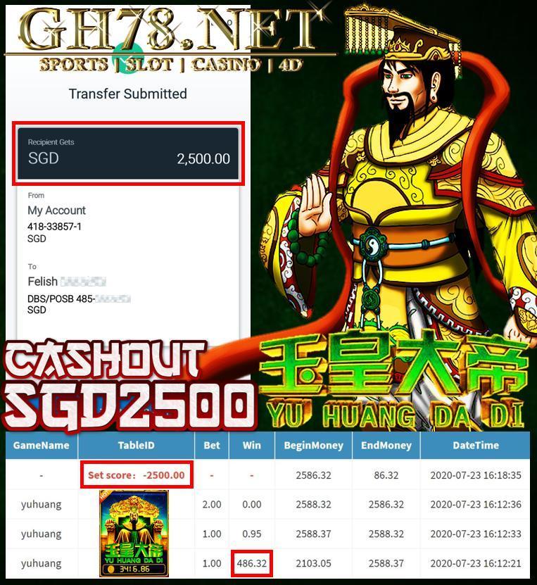 MEMBER PLAY PUSSY888 , YU HUANG CASHOUT SGD2500