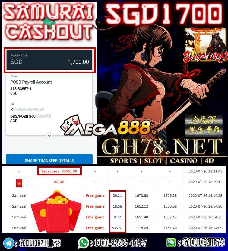 MEMBER PLAY SAMURAI CASHOUT SGD 1700