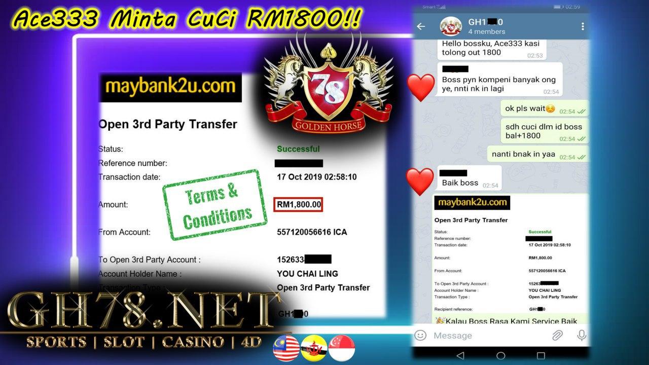 MEMBER MAIN ACE333 MINTA CUCI RM1800!!!