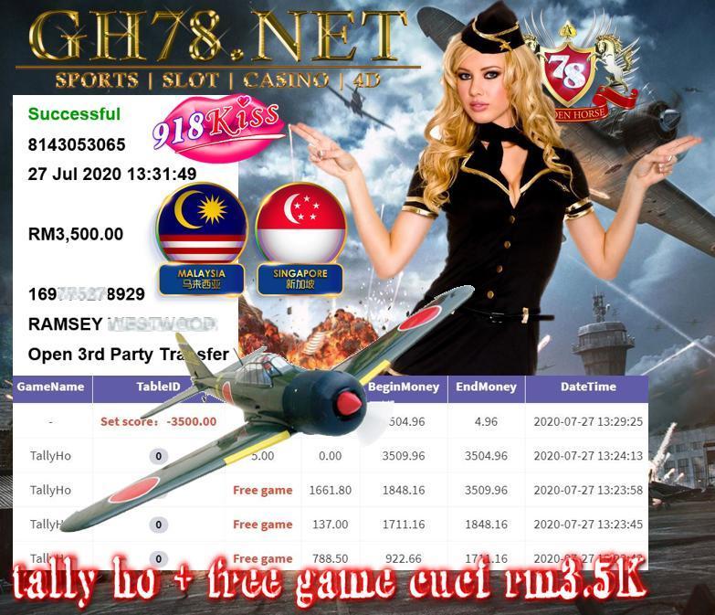SERVER 918KISS , TALLY HO + FREE GAME , CUCI RM3500 !