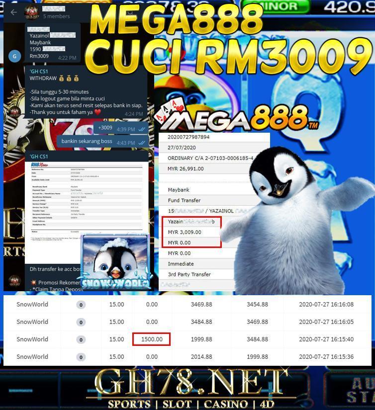 MEMBER MAIN SNOW WORLD MEGA888 CUCI RM3009