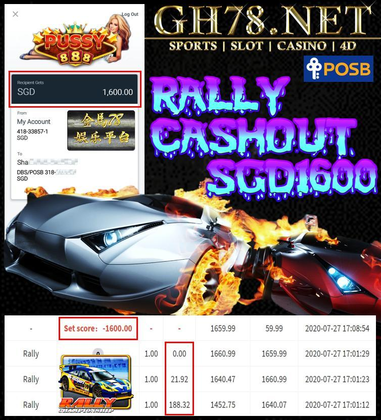 MEMBER PLAY PUSSY888 RALLY CASHOUT SGD1600