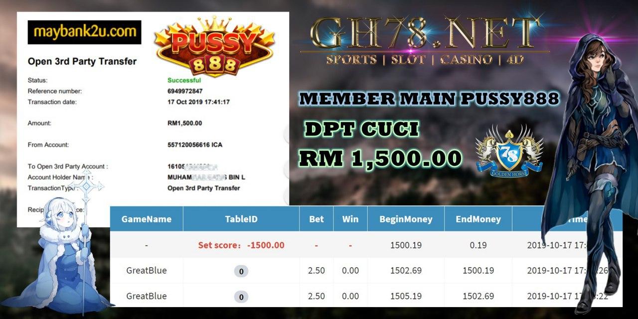 MEMBER MAIN PUSSY888 MINTA CUCI RM1500!!!
