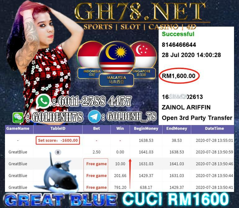 SERVER 918KISS , GREAT BLUE + FREE GAME , MINTA CUCI RM1600