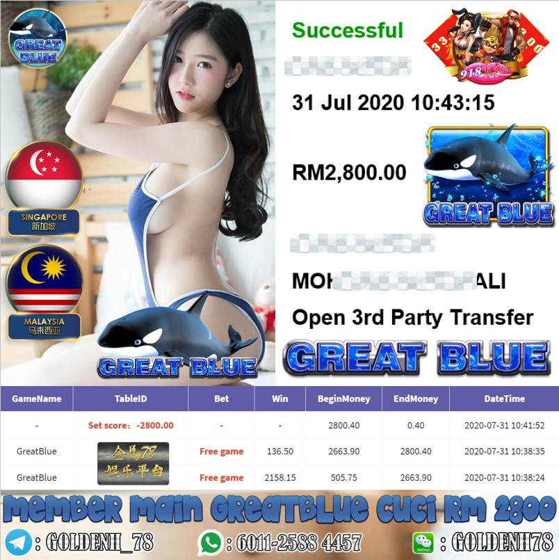 918KISS MEMBR MAIN GREATBLUE KENA FREE GAME CUCI RM2800