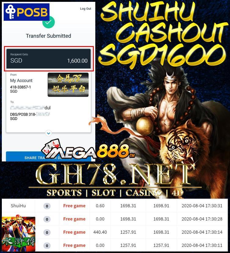 MEMBER PLAY SHUI HU CASHOUT SGD1600