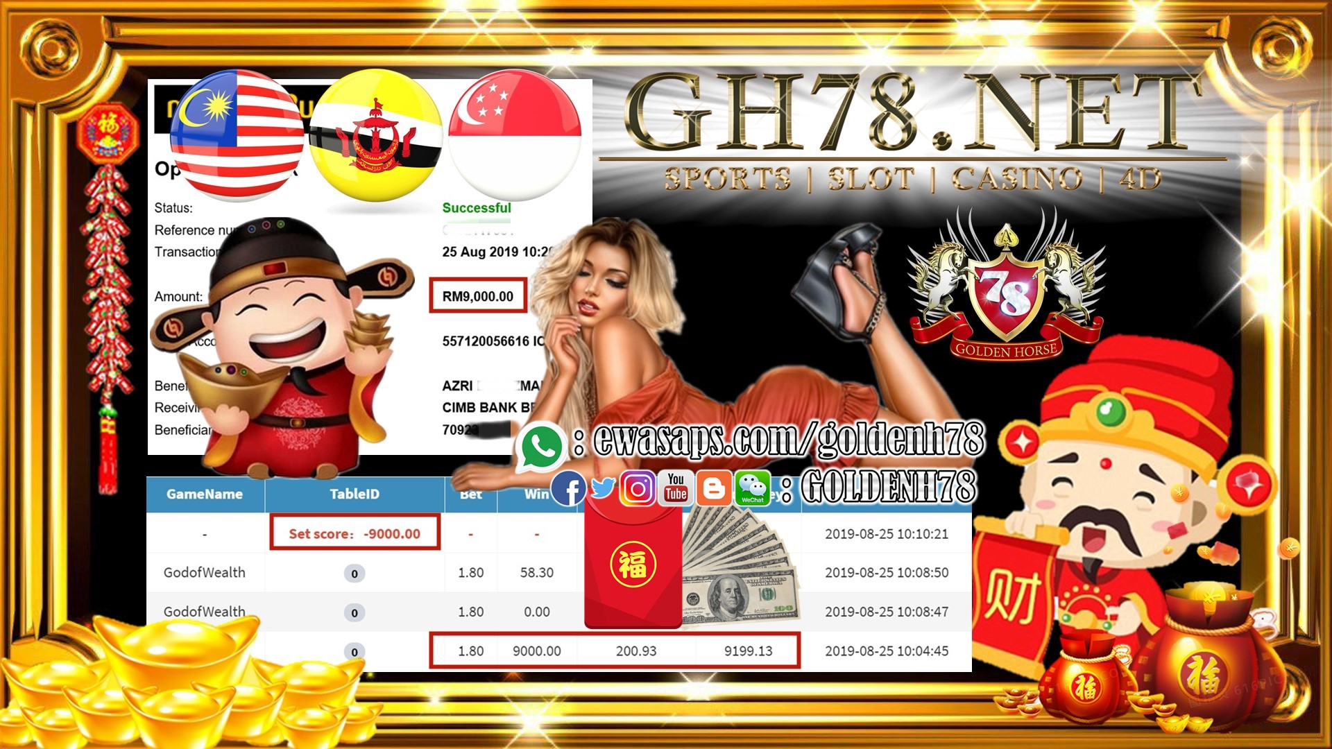 MEMBER MAIN GAME 918KISS FT.GODOFWEALTH MINTA OUT RM9,000