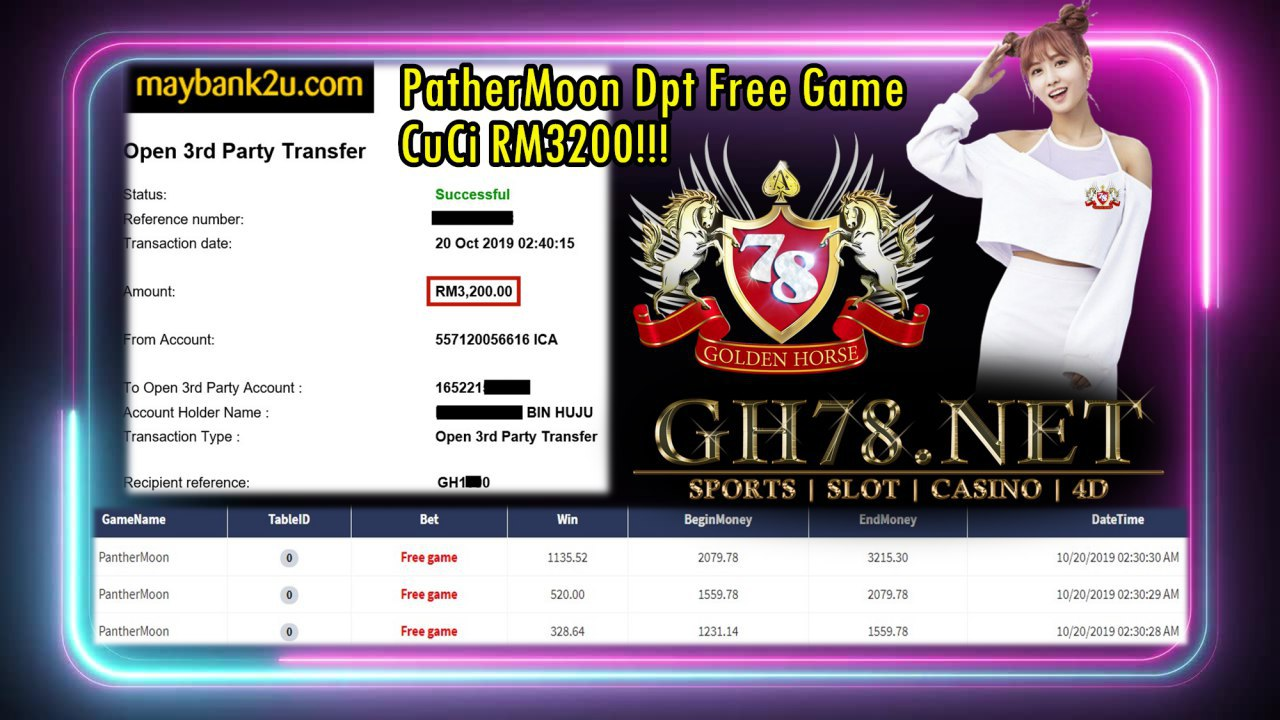 PATHERMOON DPT FREE GAME CASH OUT RM3200!!!