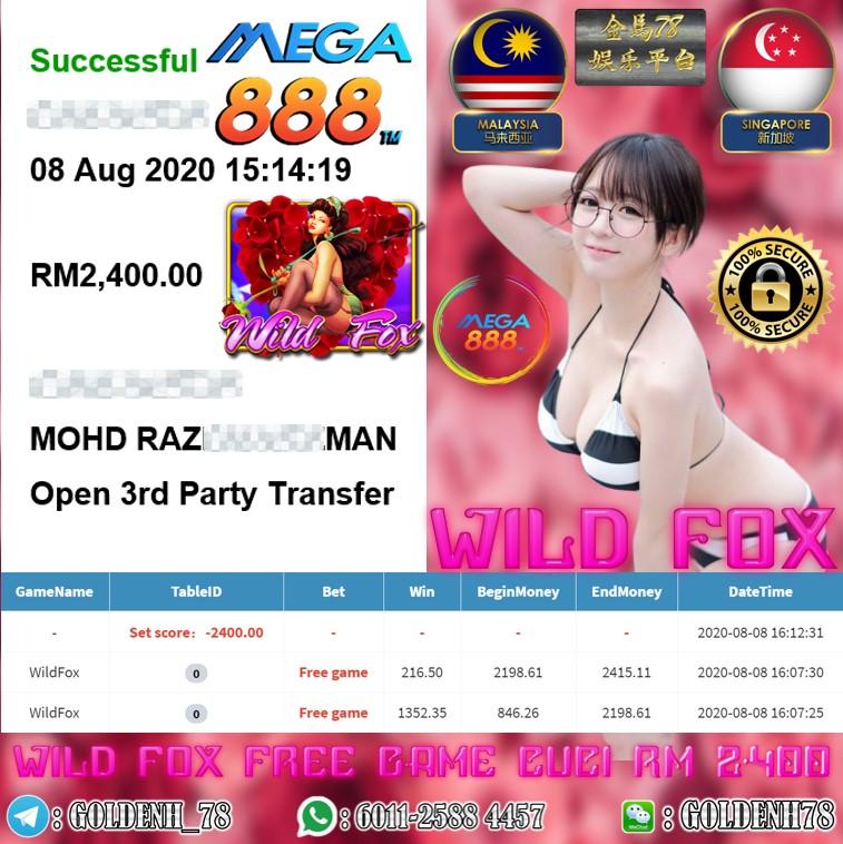 MEGA888 MEMBER MAIN WILDFOX CUCI RM2400