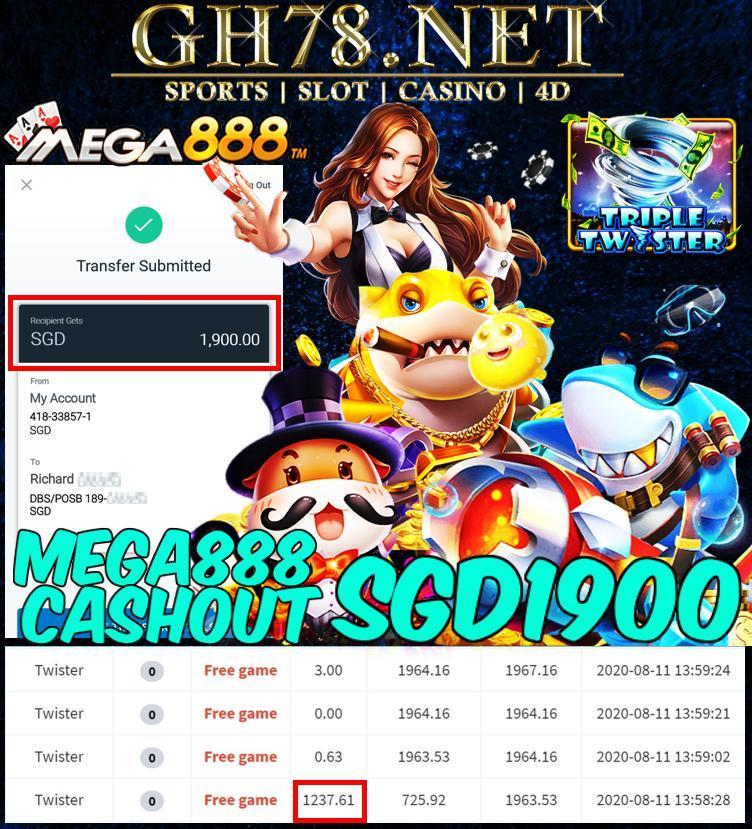 MEMBER PLAT MEGA888 CASHOUT SGD1900