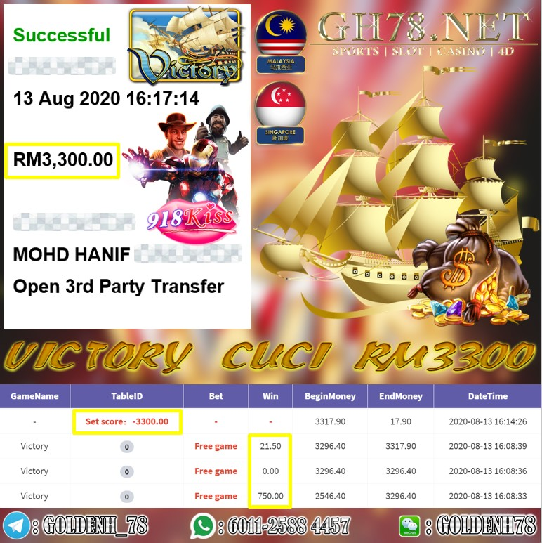 918KISS MEMBER MAIN VICTORY CUCI RM3300