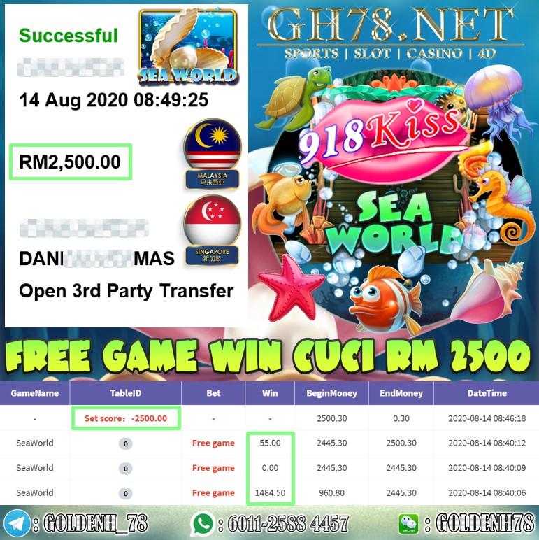 918KISS MEMBER MAIN SEAWORLD KENA FREE GAME CUCI RM2500