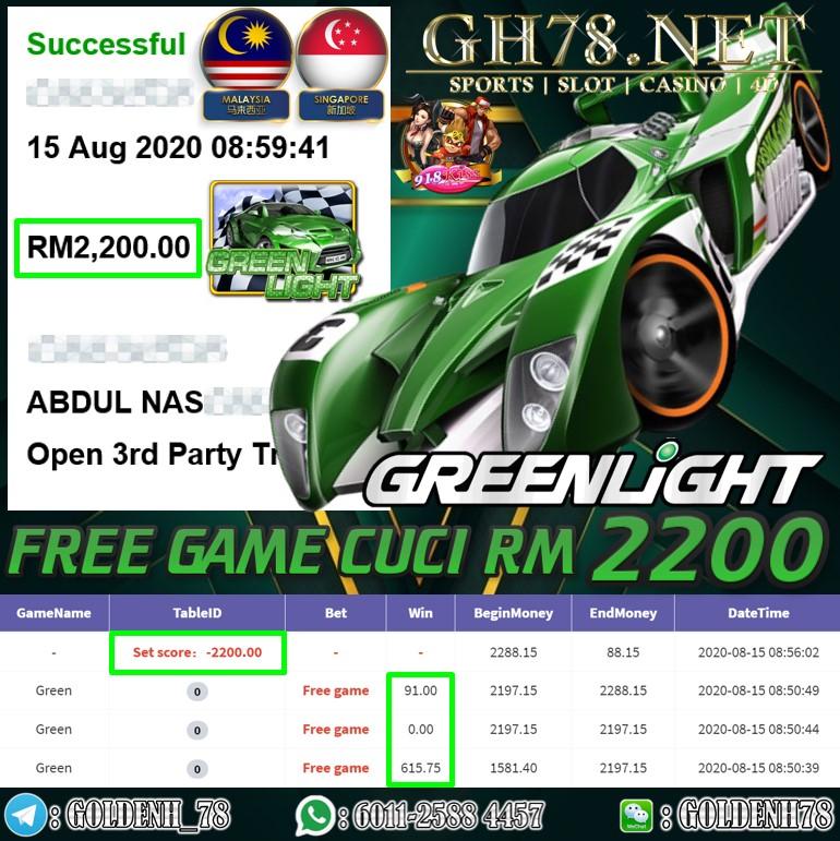918KISS GREEN LIGHT CUCI RM2200