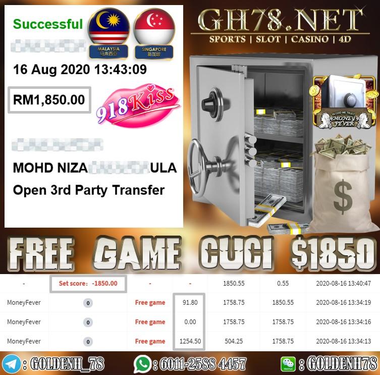 918KISS MONEY FEVER FREE GAME KAW KAW CUCI RM1850