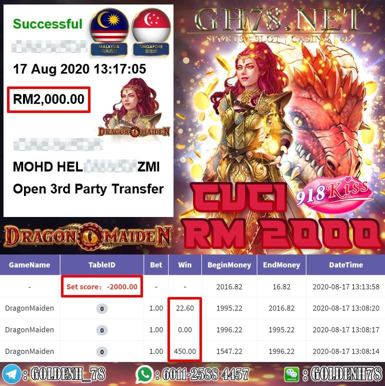 918KISS DRAGON MAIDEN CUCI KAW KAW RM2000