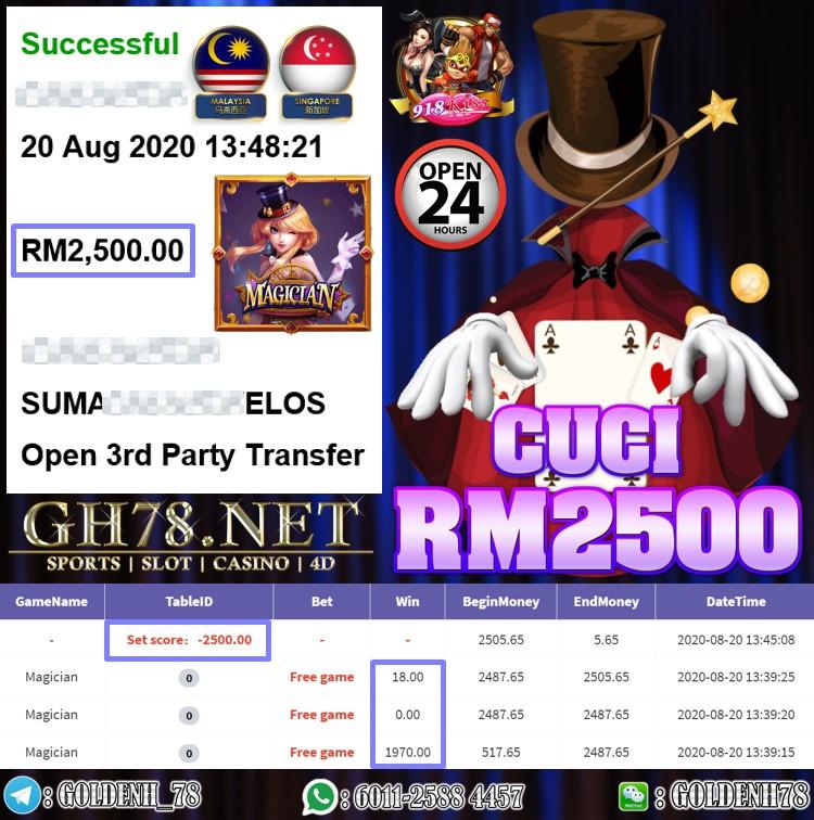 918KISS FT. MAGICIAN KENA FREE GAME CUCI RM2500