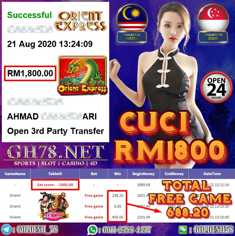 918KISS FT. ORIENT KENA FREE GAME CUCI RM1800