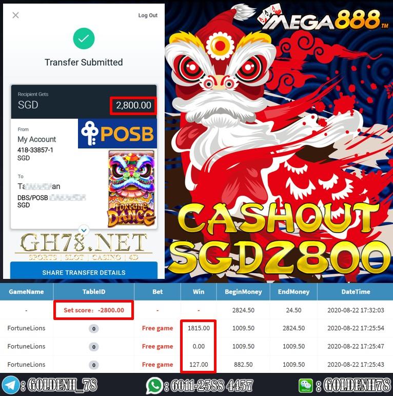 MEGA888 FT. FORTUNE LIONS CASHOUT SGD2800