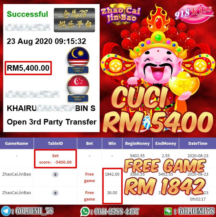 918KISS FT. ZHAO CAI JIN BAO KENA FREE GAME CUCI RM5400